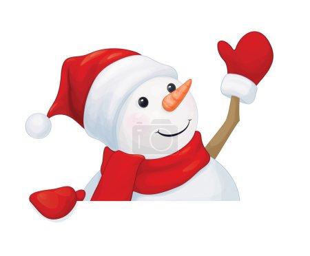 Fun snowman hiding by blank
