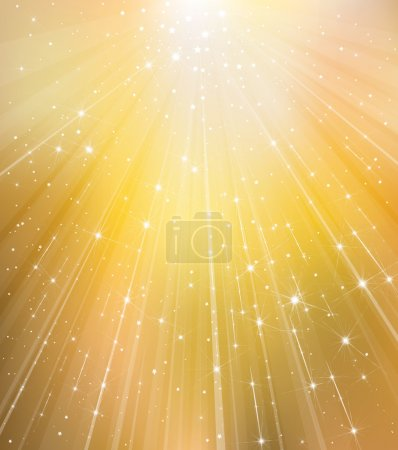 Golden background with rays and stars