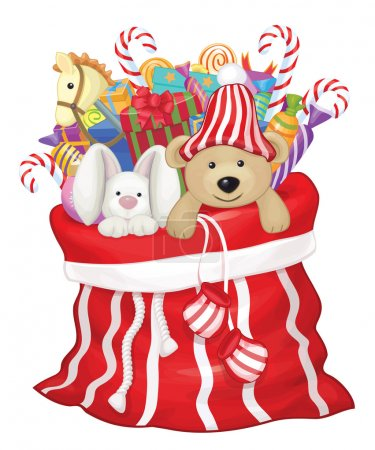 Santa Claus bag with toys and gifts.