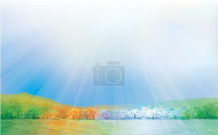 Illustration for Vector four seasons landscape. - Royalty Free Image