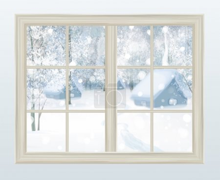 Illustration for Vector window with view of snowy background. - Royalty Free Image