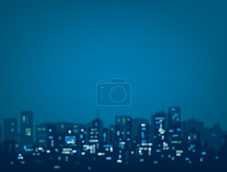 Illustration for Vector bokeh night city background in blue colors - Royalty Free Image