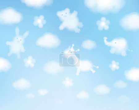 Illustration for Vector sky background, animals cartoons. - Royalty Free Image