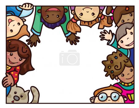 Multi-ethnic kids cartoon