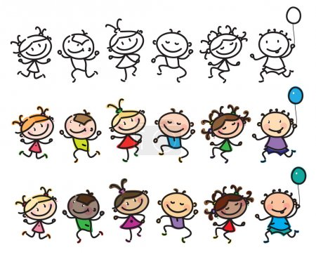 Dancing multi-ethnic kids cartoon