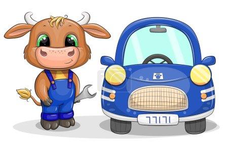 Photo pour Un joli taureau de dessin animé répare une voiture bleue. Illustration vectorielle d'un animal et d'une voiture isolés sur blanc. - image libre de droit
