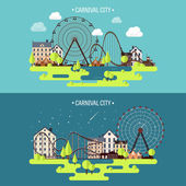 Vector illustrationSpring summer Ferris wheel Carnival Funfair background Circus park  Skyscrapers with roller coaster
