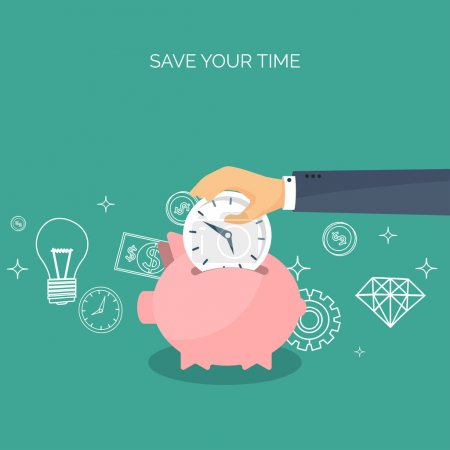 Vector illustration. Flat saving money concept background. Piggy bank, coins. Time is money.