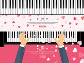 Vector illustration Musical flat background with hearts Love Piano key keyboard Melody Instrument