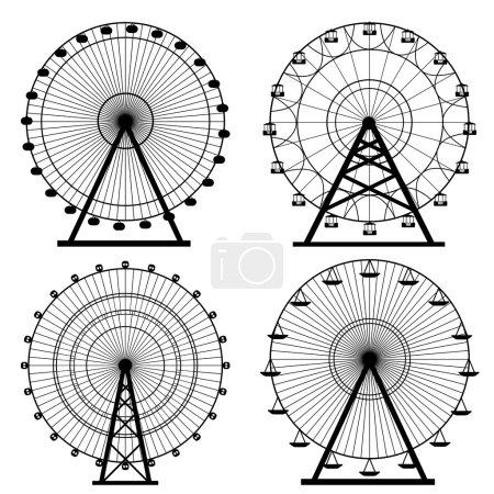 Illustration for Ferris wheel silhouette, circle. Carnival. Funfair background.Carousel, motion. Vector illustration. - Royalty Free Image
