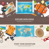 Travel and tourism. Flat style. World, earth map. Globe. Trip, tour, journey, summer holidays. Travelling,exploring worldwide. Adventure,expedition. Table, workplace. Traveler. Navigation or route