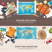 Reisen und Tourismus. Flachen Stil. Welt, Erde Karte. Globus. Reise, Tour, Reise, Sommer-Urlaub. Reisen weltweit zu erkunden. Abenteuer, Expedition. Tisch, am Arbeitsplatz. Reisenden. Navigation oder route