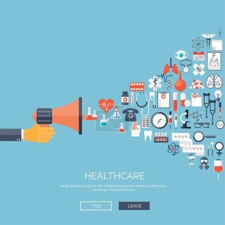 Illustration pour Illustration vectorielle. Fond médical plat. Médecine. Soins de santé et recherche médicale. Premiers secours - image libre de droit