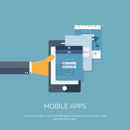 Vector illustration. Mobile apps. Programming and coding. Flat ui.