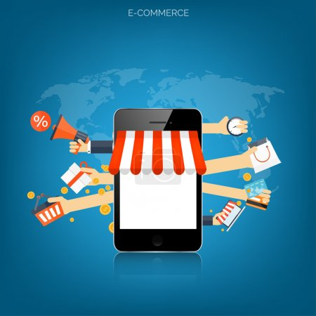 Illustration for Internet shopping concept. E-commerce. Online store. Web money and payments. Pay per click - Royalty Free Image