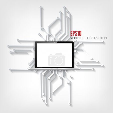 Illustration for Abstract integrated circuit. Business background. Realistic detalized flat laptop - Royalty Free Image