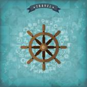 Wheel web icon Old vintage travel background