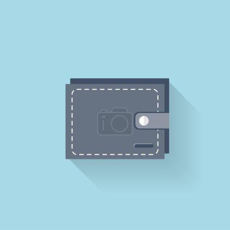 Illustration pour Icône web plate. Portefeuille - image libre de droit