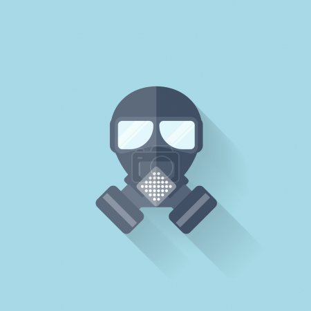 Illustration for Flat web internet icon. Gas mask - Royalty Free Image
