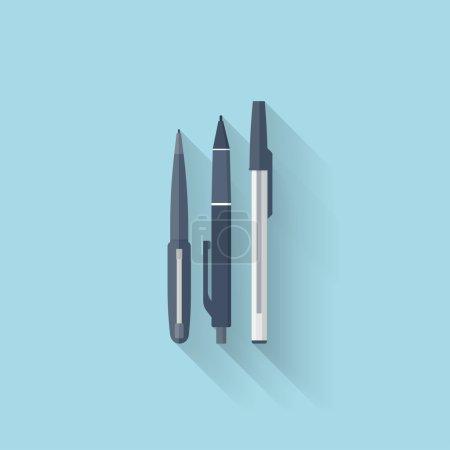 Flat web internet icon. Pen set.