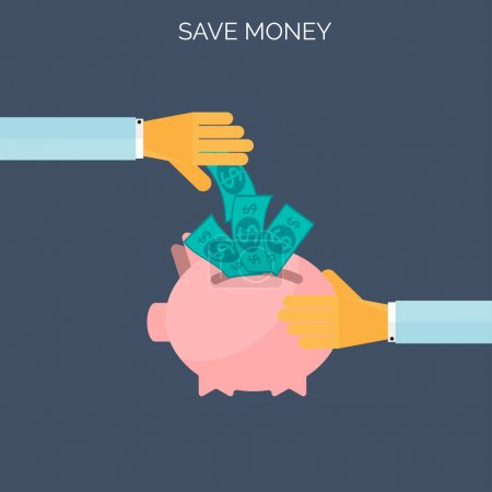 Save money flat concept background. Time is money