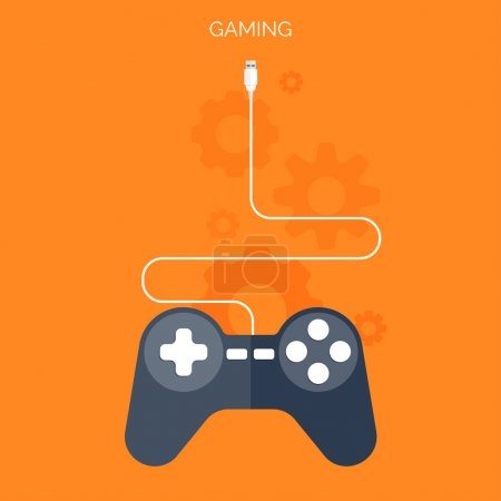 Flat joystick icon.Gaming background