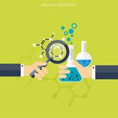 Flache Gesundheitswesen und medizinische Forschung-Hintergrund. Gesundheitssystem-Konzept. Medizin und Chemieingenieurwesen
