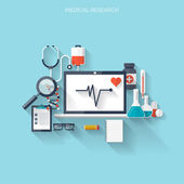 Flat health care and medical research background Healthcare system concept Medicine and chemical engineering