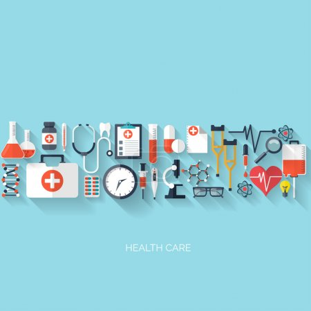 Flat health care and medical research background. Healthcare system concept. Medicine and chemical engineering.