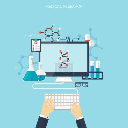 Illustration pour Soins de santé plats et recherche médicale. Concept de système de santé. Médecine et génie chimique - image libre de droit