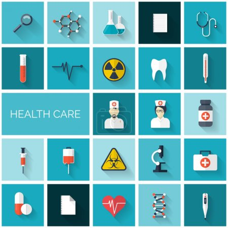 Flat health care and medical research icon set. Healthcare system concept. Medicine and chemical engineering.  First aid and diagnostic equipment.