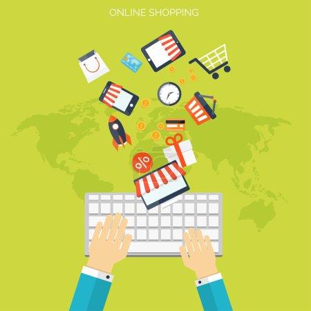 Illustration pour Concept de boutiques Internet. Site e-commerce. Boutique en ligne. Argent du Web et des paiements. Payer par clic - image libre de droit