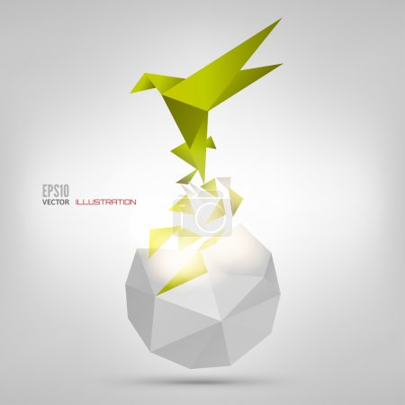 Illustration for Origami paper bird on abstract background - Royalty Free Image