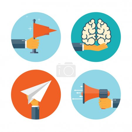 Flat loudspeaker icon. Administrative management concept. Business aims and solutions. Teamwork and brainstorm.