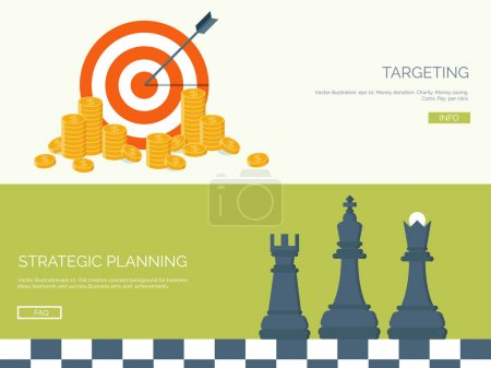 Flat vector illustration backgrounds set. Target, coins and chess. Management and achievements. Smart solutions and business aims. Generating ideas. Business planning and strategy