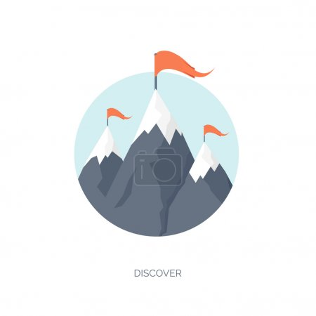 Illustration for Vector illustration. Flat mountaines. Mission and achievement. Nature and travel. Success and smart solutions concept background - Royalty Free Image