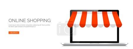 Illustration pour Illustration vectorielle. Ordinateur portable. Boutique en ligne, achats sur Internet. Offres Web et devise - image libre de droit