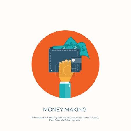 Illustration pour Illustration vectorielle. Fond plat avec main et portefeuille plein d'argent. Achats en ligne. Payez par clic. Gagner de l'argent - image libre de droit