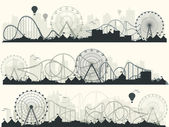 Vector illustration Ferris wheel Carnival Funfair background Circus park Roller coaster