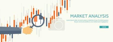 Vector illustration. Flat background. Market trade. Trading platform ,account. Moneymaking,business. Analysis. Investing.