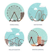 Vector illustration Ferris wheel Winter carnival Christmas new year Park with snow Roller coaster