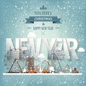 Ferris wheel Winter carnival Christmas new year Park with snow Roller coaster