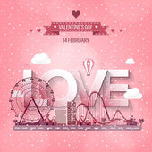 Vector illustration Valentines day Love 14 february Park Ferris wheel Roller coaster