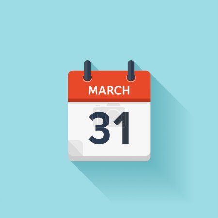 March 31. Vector flat daily calendar icon. Date and time, day, month. Holiday.