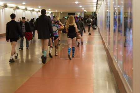 "People without pants arriving in Union Station during the ""No Pa"