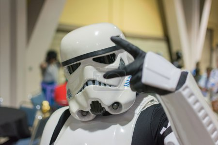 Photo for Long Beach, CA - USA - September 12, 2015: Star Wars  Storm Trooper costume at The Long Beach Comic Con held at the Long Beach Convention Center. - Royalty Free Image
