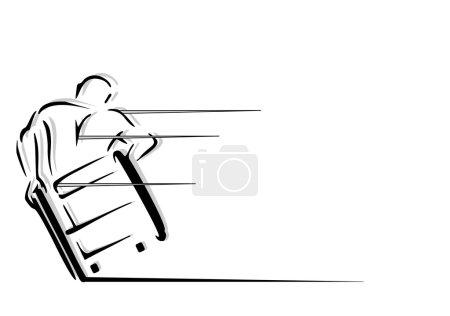 Illustration pour Une diapositive d'un homme en fauteuil roulant - image libre de droit