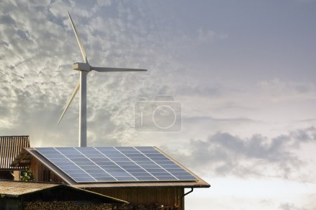Photovoltaic panel and wind mill ecologic energy p...