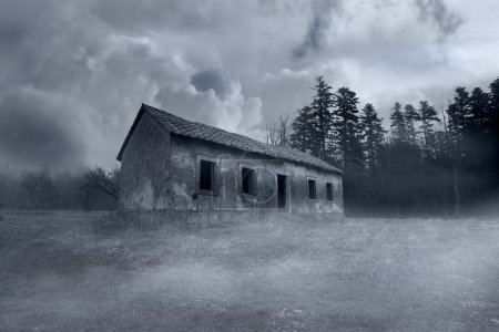 Gruseliges verlassenes Horrorhaus im nebligen Wald