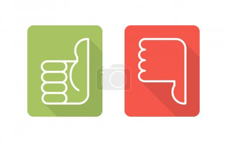 Illustration for Labels with symbols thumbs up, thumbs down, two vector icons - Royalty Free Image